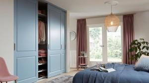 blauwe slaapkamerkast